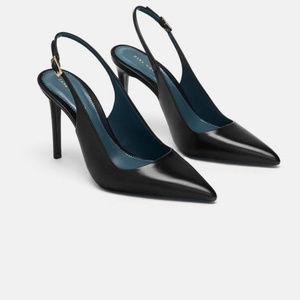 Zara Black Leather Slingback Heels Blue Collection